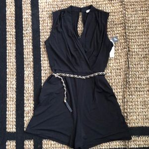 Black Romper with Chain Link Belt